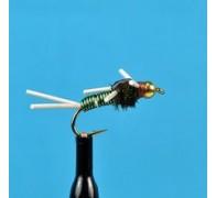Bead Head Copper John Rubber Leg Green