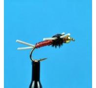 Bead Head Copper John Rubber Leg Red